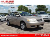 Options:  2004 Toyota Corolla Le|S 4Dr Sedan|1.8L|4