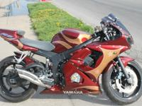 2004 Yamaha R6-Custom Paint Burgandy and gold with