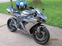 Yamaha R1, silver/grey. You won't be disappointed in
