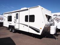 An all weather 4 period travel trailer that has been