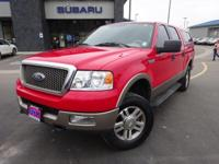 Options:  2005 Ford F-150 Lariat|Red|Clean Carfax.