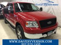 Red 2005 Ford F-150 XLT 4WD 4-Speed Automatic with