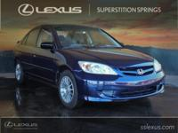 New Price!    2005 Honda Civic LX Vivid Blue Pearl 1.7L