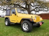 SOLAR YELLOW TJ SPORT! This 6 cylinder, 6 sped Wrangler