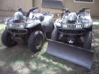 Two 2005 Kawasaki Prairie 360 4x4 All Terrain Vehicles