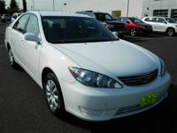 This White 2005 Toyota Camry is powered by a 2.4L 4