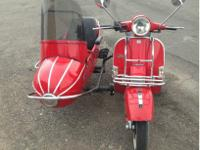 2005 Vespa Stella scooter and side cart Bright Red