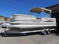 2006 Crestliner 24 Foot Pontoon Boat. Garage Kept, Low