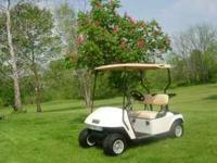 This cart has a top, hubcaps, new (headlights,