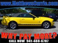 DROP THE TOP 2006 FORD MUSTANG CONVERTIBLE V6 YELLOW