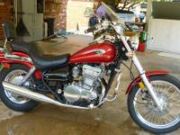 Very clean Candy Apple Red Vulcan 500, new battery,