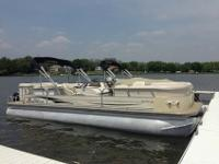 Suntracker 22 with a 70hp engine can get 21 mph with a