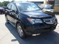 2007 ACURA MDX, BLACK/ GRAY LEATHER INTERIOR AND LOADED