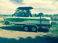 22 FOOT WAKEBOARD BOAT WITH MERC 350, WITH 380 HOURS