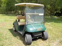 2007 green electric ez go golf cart with fold down