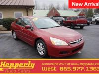 Clean CARFAX. This 2007 Honda Accord SE in Red