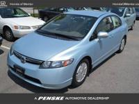 HYBRID, CARFAX 1-Owner. Civic trim. iPod/MP3 Input, CD