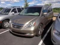 Clean CARFAX. 2007 Honda Odyssey Touring Gold FWD
