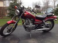 beautiful, red Honda Rebel, 250cc motorcycle. Only 2600