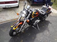 Black with Flames Motorcycle Cruiser. Model Type: