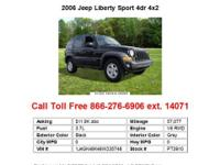 2007 Jeep Liberty Sport 4dr 4x2 SUV 4 Doors Black RWD