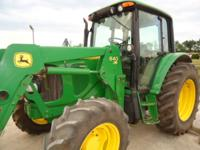 2007 John Deere 6220 Cab tractor with 640 front loader,