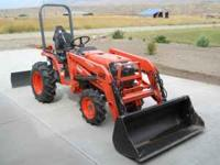 Comes with Woods Front Loader, Woods 5' rear Blade, and