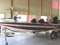 NICE 2007 SKEETER ZX 225 BASS BOAT WITH A YAMAHA V-MAX