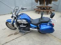 2007 TRIUMPH ROCKET III CUSTOM BLUE PAINT, CORBIN BAGS,