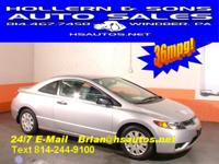 Options Included: 34 MPG 2008 HONDA CIVIC 2D COUPE DX 5