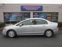 This is a lovely SILVER 2008 HONDA CIVIC HYBRID 4 DOOR