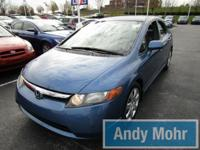 2008 Honda Civic LX in Atomic Blue Metallic, AM/FM/CD