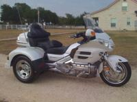 Pearl white 2008 Goldwing 1800 with a 2013 Motor Trike