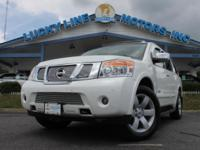 2008 NISSAN ARMADA WHITE WITH TAN LEATHER INTERIOR. CAR
