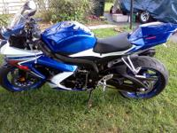 2008 Suzuki GSXR 750 blue & white. Low mileage 42xx.