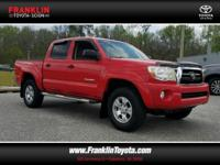 Tacoma PreRunner V6, 4D Double Cab, and Red. There's no