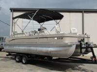 This 22-foot pontoon is rated for up to 225 HP and