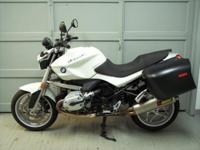 2009 BMW R1200R in white with only 4712 miles. This