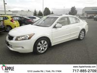 Clean CARFAX.  2009 Honda Accord EX-L White  Options: