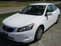 2009 HONDA ACCORD LX 4DR. 2.4 4cyl, Auto, White w/tan