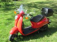 It is in very good condition. The scooter has been off