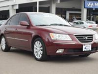 Clean CARFAX. Dark Cherry Red 2009 Hyundai Sonata