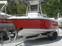 2009 Century 2200 with 225 Yamaha four stroke. Its RED!