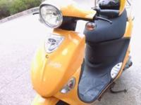 Genuine Buddy 50 cc, 583 miles only, yellow color, can
