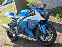 This is a blue and white 2009 GSXR 1000...8867