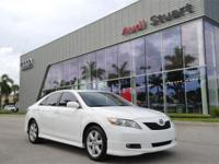 Clean CARFAX. White 2009 Toyota Camry SE FWD 6-Speed