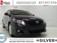 2009 Toyota Corolla S is Black with Black Cloth, Alloy