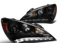 For sale Black Projector Headlights LED DRL Halo for