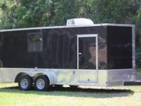 This is a 2010 18' Black/Diamond plate V nose Trailer
