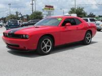 BEAUTIFUL RED DODGE CHALLENGER WITH BLACK RACING